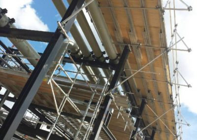 Scaffolding amid refinery pipes for better access