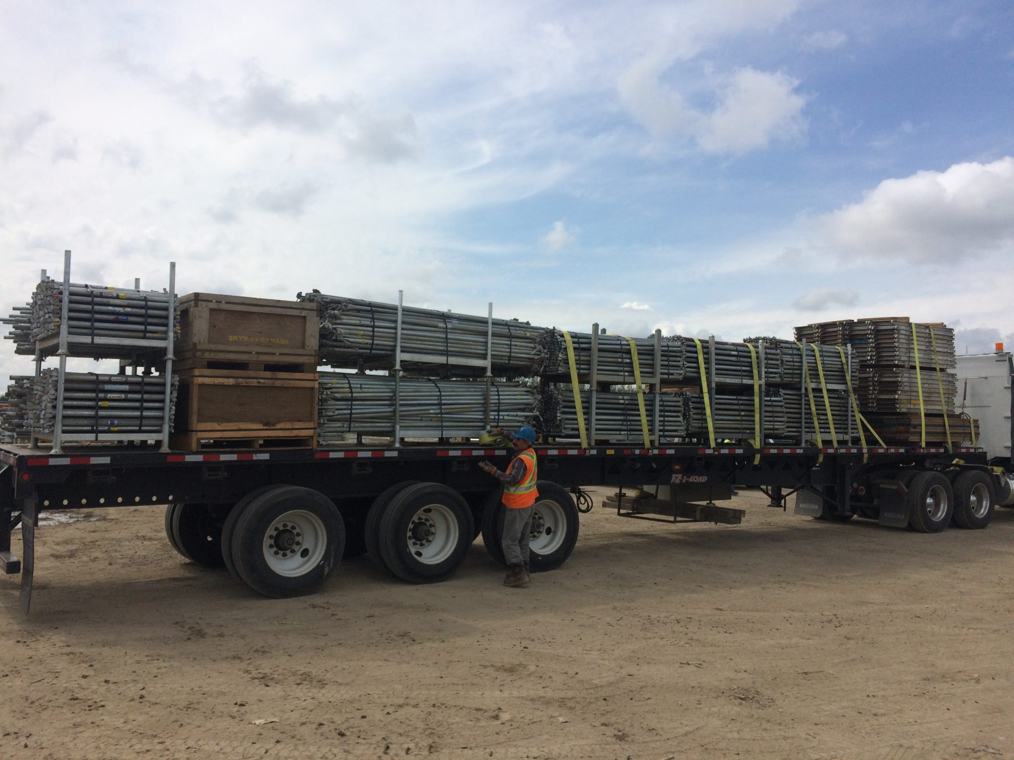 King Scaffolding Yard Crew Loading Scaffold Equipment