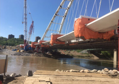 Bridge Scaffold Platforms Enclosed With Insulated Tarps